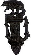 "Cast iron bear door knocker 3""x1.25""x7.5""H"