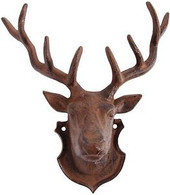 "Cast iron deer head 8""x4""x10.5""H"