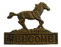 "Cast iron horse welcome sign 10""x8""H"