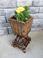 "Barkwood square planter on twig stand 12""H"