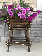 "Black twig & cocotistis plant stand 21""H"