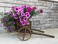 "Barkwood round planter cart  23""x12.5""x11.5""H ( Pot size 11""Dx7.5""H )"