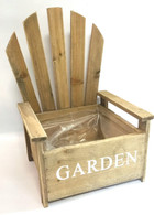 Wooden chair planter - light brown