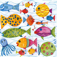 Colorful fish lunch napkin