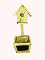 "wood planter with chalkboard & birdhouse 5""x5""x14""H (min.2, 18/crtn) , Yellow"