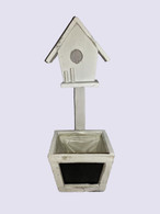 "White wood planter with chalkboard & birdhouse 5""x5""x14""H (min.2, 18/crtn)"