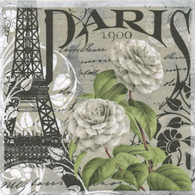 "Floral white PARIS lunch napkins 6.5""X6.5"""