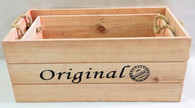 "S/2 ""Original"" wood containers with rope handles L: 18""x10""x8""H, S: 16""x8""x7""H"
