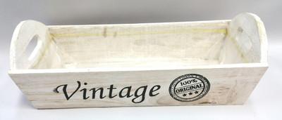 "White wash vintage wood tray 13""x6""x4""H"