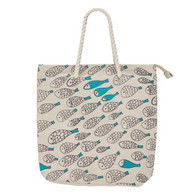 "Tote beach Bag- turquoise Fish Motif tote bag with zipper 18""x5""x17""H"