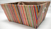 "Rectangular multi colour fabric basket with brown fabric liner 13""x10""x6""H"