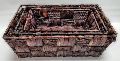 "Set of 3 Rectangular brown hyacinth & seagrass baskets  L: 17""x11""x6""H,  M: 15""x9""x5""H,  S: 11""x7""x4""H"