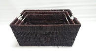 "Set of 3 brown seagrass baskets with metal handles L: 16""x12""x7""H  M: 14.25""x10.25""x6.25""H  S: 13""x9""x5.75""H"