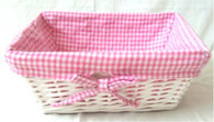 Rectangular white willow basket with pink/white checkered fabric liner