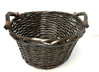"Round stained willow basket with wooden handles  14""Dx7""H"