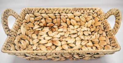 "Rectangular hyacinth basket with handles 14""x10""x4""H"