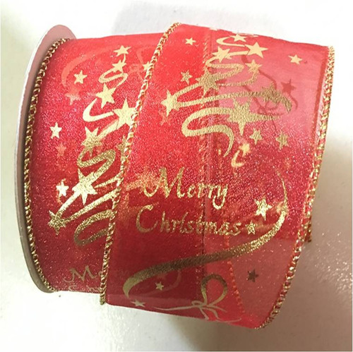 """Red sheer with gold trim wired ribbon 25 yard/roll - 2.5"""" wide"""