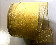 "Organza gold with gold swirl wired ribbon 25 yard/roll - 2.5"" wide"