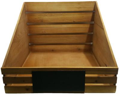 "Wood display basket with chalkboard 16""x16""x4""Hx12""OH"