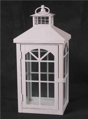 "Off white iron and glass lantern 6""x6""x13""H (min 2,6/crtn)"