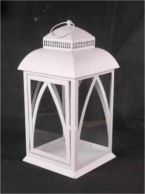 """White metal & glass lantern 10""""x10""""x19""""H (min 2, 2/crtn)"""