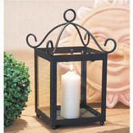 "Black metal & glass lantern 9""x9""x11""H (min 2, 4/crtn)"