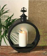 "Black round metal & glass lantern 10""x4""x15""H"