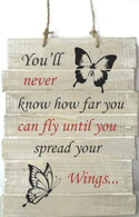 """""""You'll never know how far you can fly until you spread your wings"""" wood wall plaque 10""""x14""""x1.75"""""""