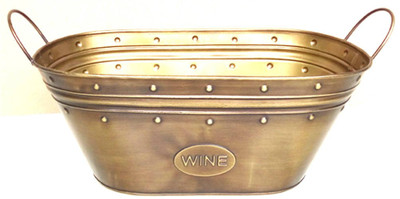 "Metal (wine) container w/handles 15""x7.75""x5.75""H (min.3,20/crtn)"