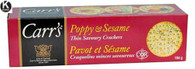 Carr's Poppy & Sesame thin savoury crackers 184 gr., 12/cs..