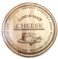 "Round bamboo cutting board with engraved Cheese selection 10""Dx0.6"" Food Safe natural bamboo cutting boards. Great cheese board that can be used as a base for the gift basket with cheese crackers and a bottle of wine and if you like you can add a spreader to compliment your gift basket."