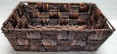 "Medium Rectangular brown hyacinth & Seagrass baskets 15""x9""x5""H"