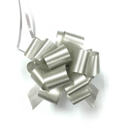 "4"" Matte Pull Bows - 50 bows/case - Silver"