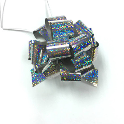 """5"""" Holographic Pull Bows - 50 bows/case - Silver"""