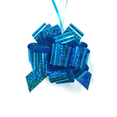"""5"""" Holographic Pull Bows - 50 bows/case - Turquoise"""