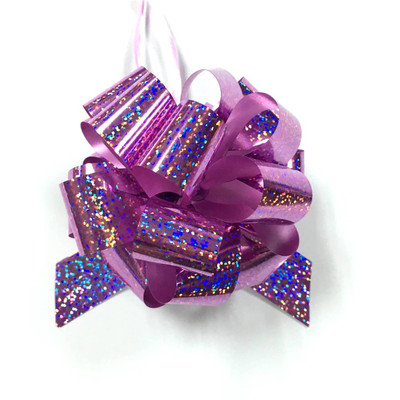 """5"""" Holographic Pull Bows - 50 bows/case - Pink/Rose"""