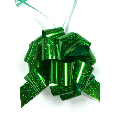 """5"""" Holographic Pull Bows - 50 bows/case - Green"""