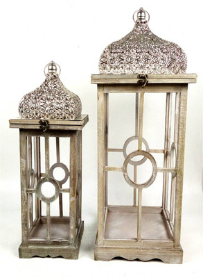 "S/2 Vintage wood, metal & glass lanterns  S: 8""x8""x18""H, L: 11""x11""x24""H (min 1, 2/crtn)"