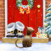 "Lunch napkins - Cat on Santa's door 6.5""x6.5"""