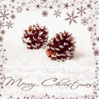 "Lunch napkins - Merry Christmas pinecone 6.5""x6.5"""