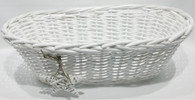 "Oval, white willow basket with White Star ornament included  18""x8""x6""H"