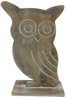 """Wooden vintage Owl - Small 4""""x6.5""""H"""
