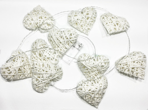 """10 Hearts, Decorative LED Wire heart light up garland (65"""" Long) (2 AA batteries not included)"""