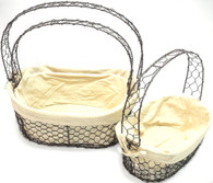 "Largest in Set of 3 Metal baskets with ivory canvas liner L:16""X12.25""X7""H"