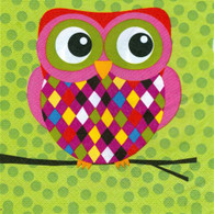"Lunch Napkins - Colourful Owl 6.5""x6.5"""