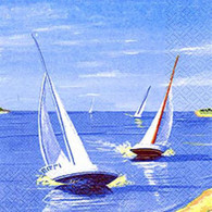 "Lunch Napkins - Sailboats 6.5""x6.5"""