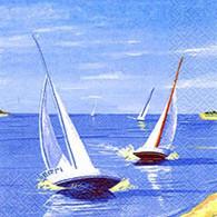 "Lunch Napkins - Sailboats 6.5""x6.5"""