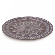 "Brown/mauve 17""D decorative platter"