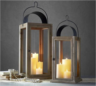"Set of 2 Wood, glass and iron lanterns   Small: 7.5""x7.5""x20""H, Large: 10""x10""x30""H"
