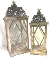 "Set of 2 Vintage wood, glass and iron lanterns with black metal top Small:7""x7""x21""H, Large:10""x10""x25""H"